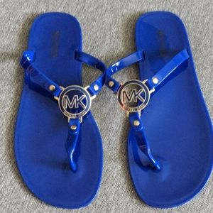 Michael Kors Blue Jelly Sandals with Gold Blue